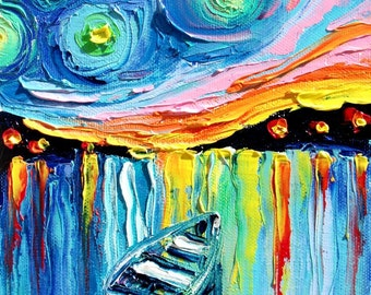 Midnight Harbor XXIX - 18x24 abstract boat signed Lustre print reproduction by Aja ebsq