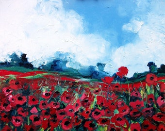 Poppy Field 1 - 16x20 signed print reproduction by Aja
