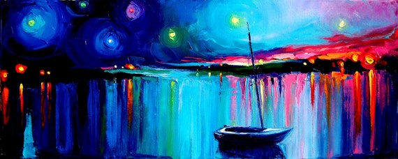 Twilight - 16x40 panoramic impasto abstract boat in evening seascape by Aja