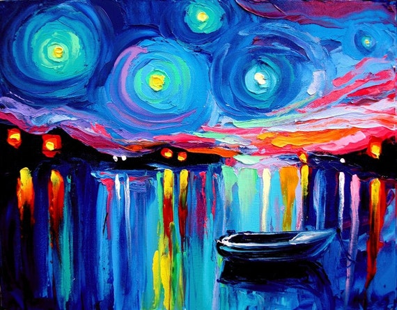 Midnight Harbor XXVI - 16x20 abstract boats Lustre print reproduction by Aja ebsq
