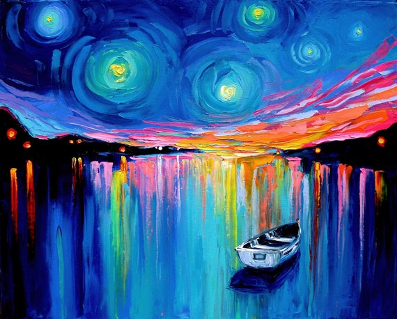 Midnight Harbor XXVIII - 24x30  impasto abstract boat in lake landscape by Aja