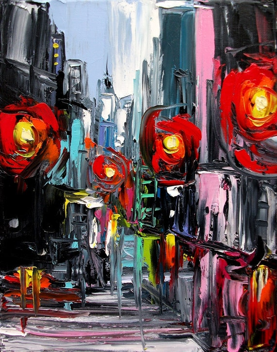 Faces of the City CXIX - 11x14 abstract cityscape original oil painting by Aja