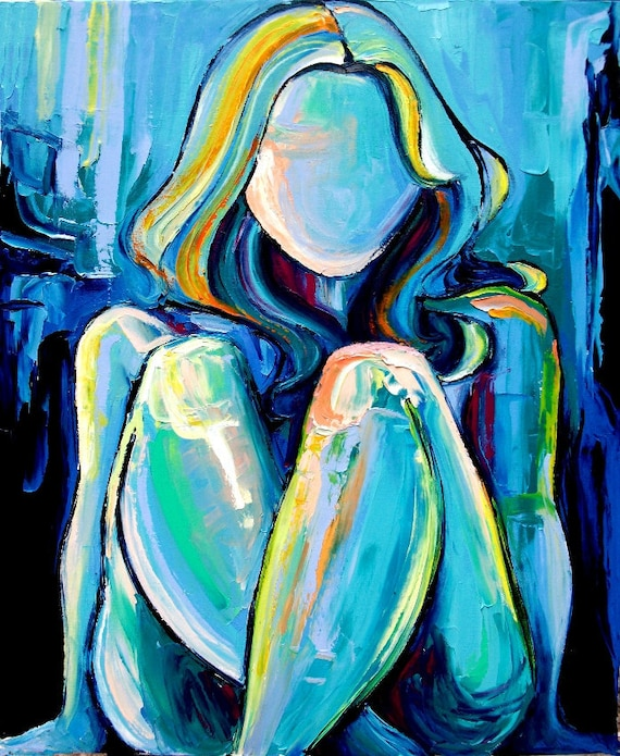 """Original oil painting nude abstract impasto female figure by Aja """" Blue """" 24x30"""