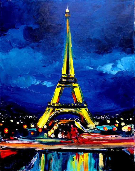 Eiffel VI - 11x14 impasto Paris cityscape original oil painting by Aja