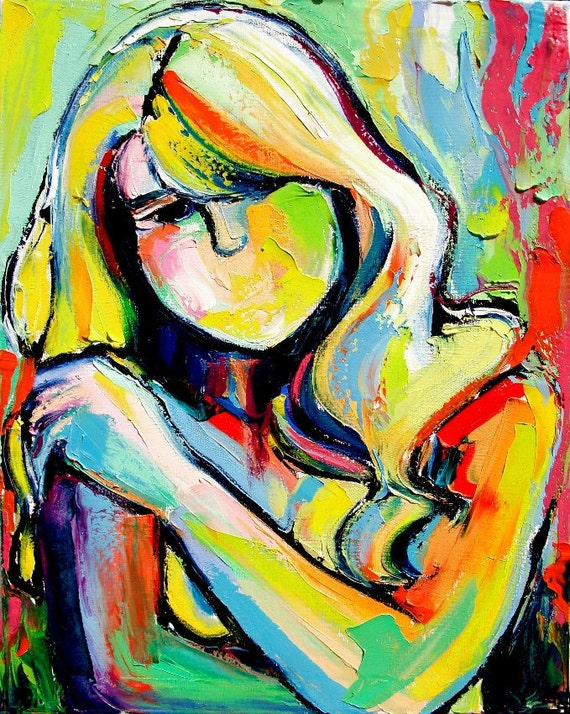 Original abstract oil painting female nude by Aja