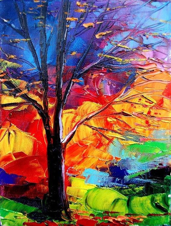 Landscape oil painting original impasto art by Aja