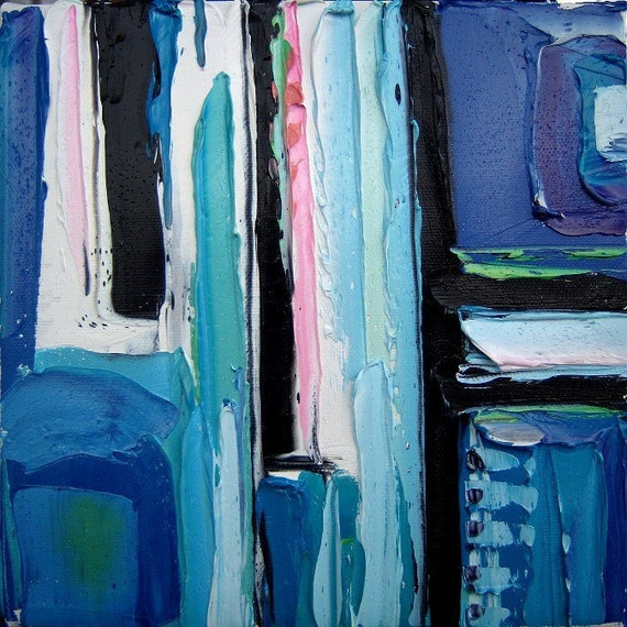 Aerial Photograph 5 - 8x8x1.5 inches original abstract impasto oil painting by Aja