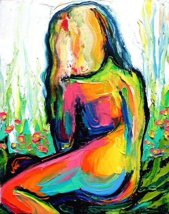 Impasto abstract nude oil painting by Aja
