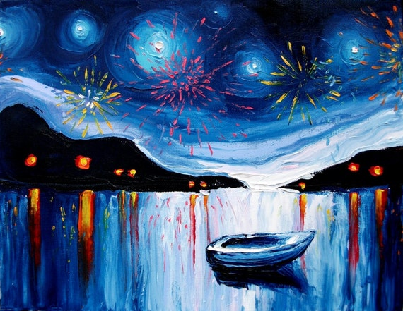 Original painting abstract art impasto boat fireworks landscape by Aja