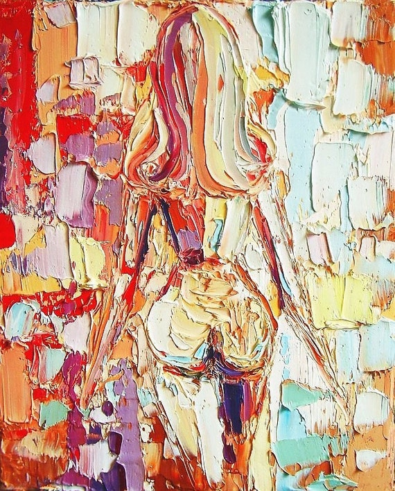 Exposure - 8x10 abstract female nude original oil painting art by Aja ebsq