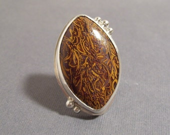 India Script Ring - So Unusual and Unique, Modern, Bohemian, Orange and Brown, OOAK