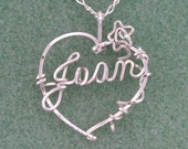Heart Necklace Enhanced with Twining Rose, Sterling Silver - Free Chain