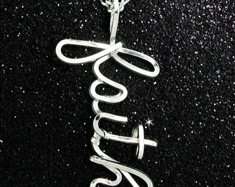 Personalized Name Drop Necklace in 040 Sterling Silver Wire