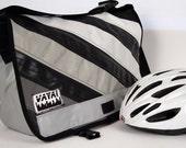 Medi Recycled Bike Tube & Canvas Striped Messenger Bag