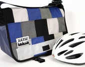 Petite Patchwork Messenger Bag in Blues & Grays