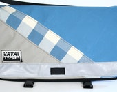 Limited Edition Medi Plaid Striped Messenger Bag - Sky Blue Canvas