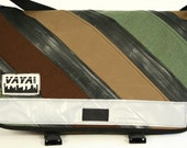 Petite Recycled Bike Tube and Canvas Striped Messenger Bag