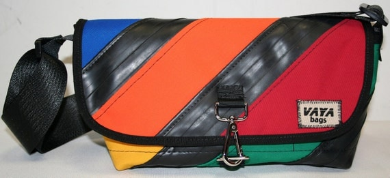 Recycled Bike Tube & Canvas Striped Purse