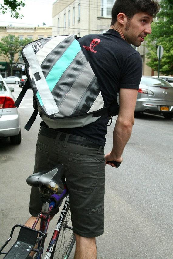 Standard Wide Recycled Bike Tube & Canvas Striped Messenger Bag