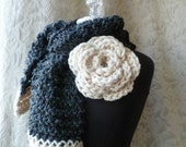 The Wallflower Scarf - Crochet Scarf - One of a Kind - Ready to Ship