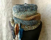Falling Feathers Cowl - Aqua Blue and Caramel - Made to Order