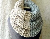 Double Down Cowl - Chunky Cowl - Oversized Couture - Dove Grey and Linen