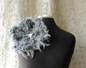 Rain Cloud Brooch - Oversized Knit Pin - Charcoal Grey