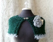 Tinsel Town Capelet - Knit - Pine Green and Silver Grey