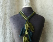 Feather Flurry Lariat Trio in olive, teal and celery green