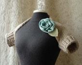 Girl Next Door Shrug. Hand Knit. Linen and Aqua. Ready to Ship.