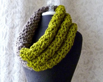 Mammoth Cowl - Chunky Cowl - Oversized - Chartreuse and Taupe