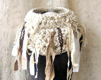 On-the-Fringe Cowl - Crocheted - Oversized Chunky Cowl - One of a Kind