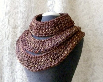 Triple Threat Cowl - Chunky Crocheted Cowl - Ready to Ship