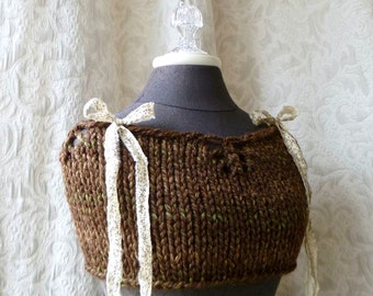 Cabin Fever Capelet - Knit - Brown - Ready to Ship