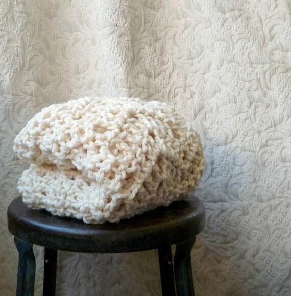 Hot Toddy Lap Rug -  Hand Crocheted Throw - Home Decor - Vanilla Cream - Free Shipping