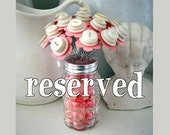 RESERVED for nannybee11 Pink Button Bouquet Flowers in Bead Filled Salt Shaker Wedding Favor Decor
