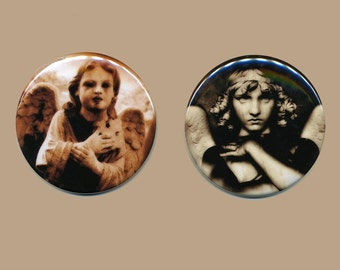 Set of (2) Vintage Cemetery Angel Photo Art Magnets 2.25 Inch Diameter Halloween Decor