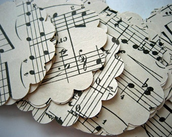 100 Vintage Sheet Music Paper Punches 2 Inch Scallop Circles Upcycled Repurposed