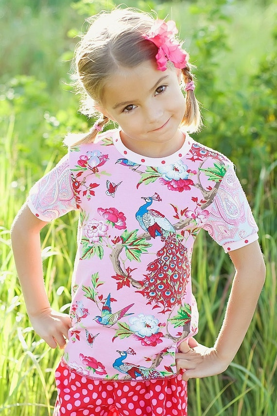 Ava Collection...Ritchie Rags Boutique short sleeve peacock Hotchpotch tee rts  2t