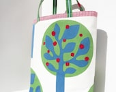 Red Apple Tote - green white blue red tree