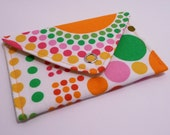 Circles circles card case - wallet - gift card holder - pink green yellow orange