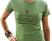 Dachshund & Gnome Women's Graphic Tee-Screen Printed 100% Cotton, Gift for Women, Avocado Green-Gift for Women