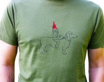 Dachshund & Gnome Men's Graphic Tee Shirt, Hand Printed Cotton, Valentine Gift for Men, As seen on Last Man on Earth,  Army Green