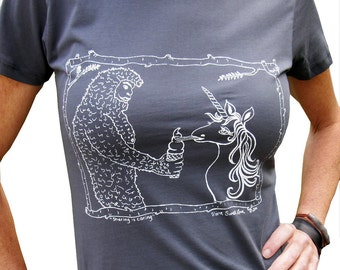 Sasquatch & Unicorn Women's Graphic Tee Shirt-Hand Printed Cotton, Womens Funny gift, Vneck, Asphalt Grey, Unicorn lover shirt
