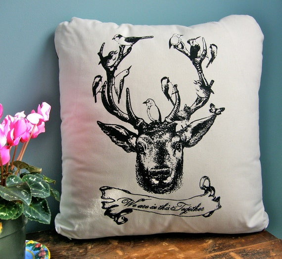 """Deer w/ Birds Pillow Cover- Hand Printed Cotton-""""We are in this Together""""18""""x18"""""""