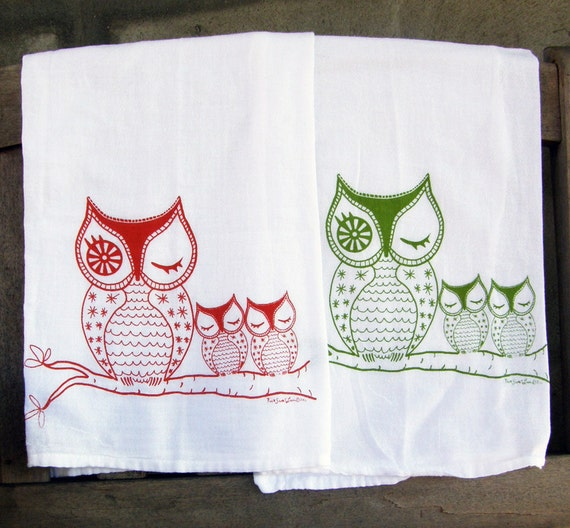 Owl Tea Towel Set/2- Orange & Green -Cotton Flour Sack-teachers gift-stocking stuffer