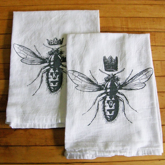 RESERVED for ERIN King & Queen Bee Tea Towel Set/2 Cotton Flour Sack-Hand Printed- Charcoal Grey Ink