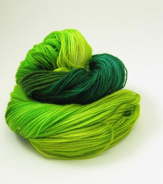 SUMMER SALE Green with Envy organic merino hand dyed sock yarn
