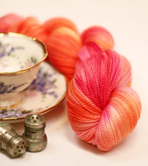 SUMMER SALE Sweet Tangerine - Organic Merino Sock Yarn - merino wool fingering yarn