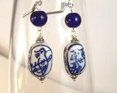 RESERVED FOR ANN   ---Blue Bird Porcelain Bead Earrings